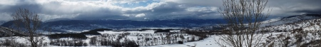 Panoràmica des de la Carretera a Font Romeu, de la Cerdanya totalment nevada
