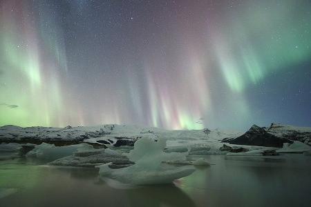 Fjallsárlön, Aurora Boreal Islandia
