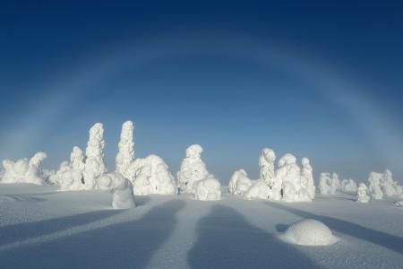 Mist bow, Riisitunturi, Finland, February 2013.