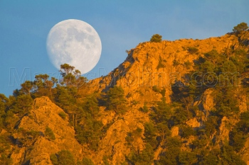 Rising full moon at sunset over puig de sa Galera, Tramuntana mountains, Majorca