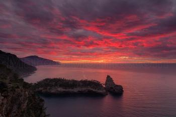 Puesta de sol, península de la Foradada. Costa norte, Mallorca