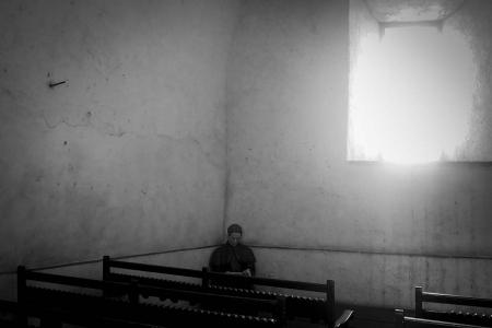 hidding priest in havana, cuban photography fine art by louis alarcon