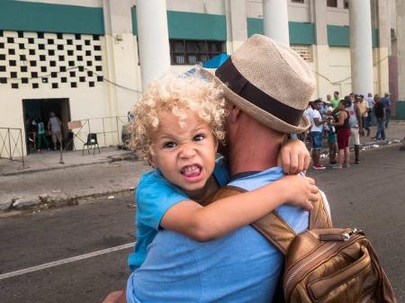 agresive cuban boy in carnivals, a picture in havana