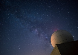 Meteorological radar and Milky Way. Serra de Llabería. Tarragona