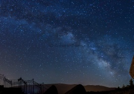 Pano of Milky Way and Rock of the Cross. Reserva del aBiosfera de la Sierra de Béjar