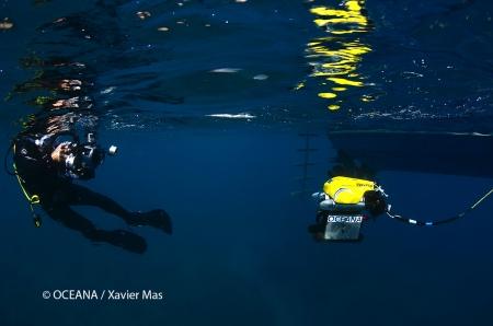 Videógrafo filmando el ROV. Parque Nacional de Cabrera, islas Baleares, España. Actos para apoyar la ampliación del Parque de Cabrera. Octubre 2013.