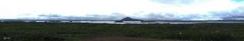 PANORAMICA DEL  LLAC MYVATN  DES DE EL HVERFJALL CRATER  –  NORD D'ISLANDIA