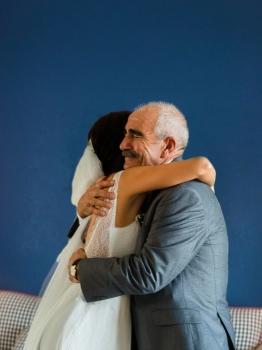 momento emotivo novia con padre