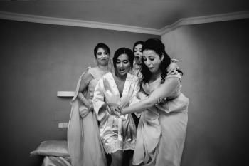 damas de honor con novia
