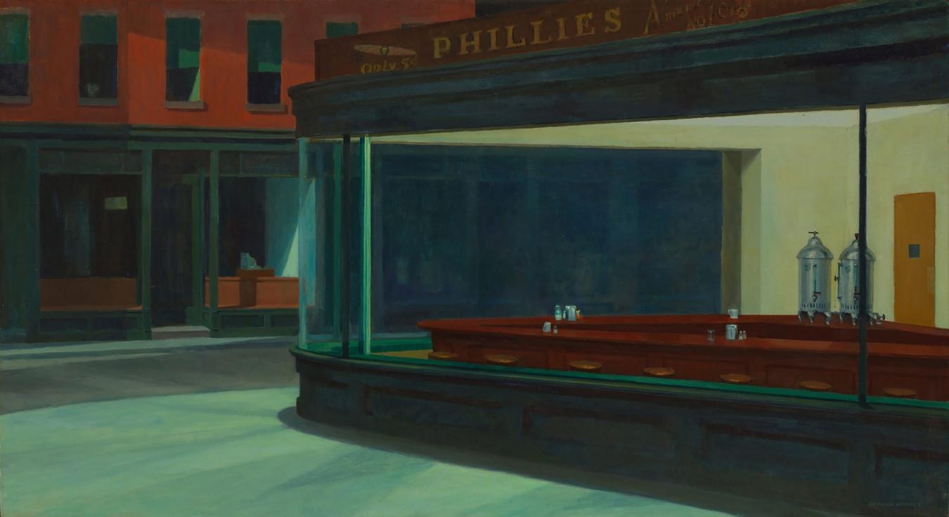 """Nighthawks"" de Edward Hopper - TIENDA - Tienda David Bokeh"