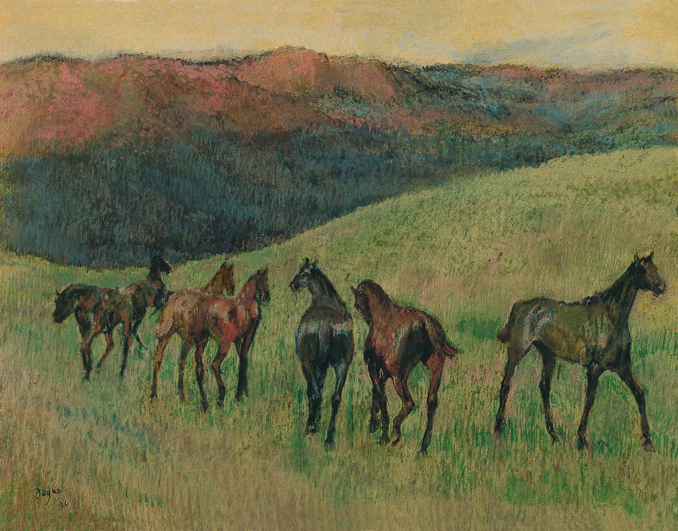 """""""Caballos de carreras en un paisaje"""" de Edgar Degas - TIENDA - Tienda David Bokeh"""