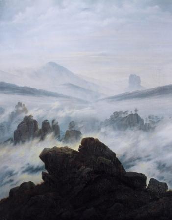 """""""El caminante sobre el mar de nubes"""" de Caspar David Friedrich"""