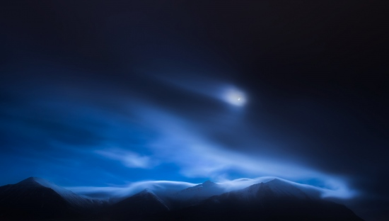 Moon over Hafnarfjall Mountain (Borgarnes, Vesturland Region - 2015)