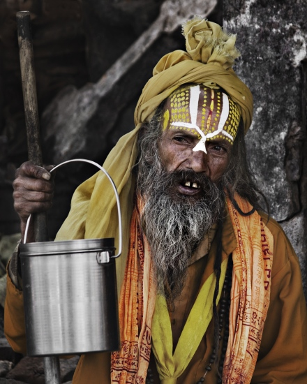 Retrato de Sadhu en Pashupatinat (Katmandu, Nepal - 2015)