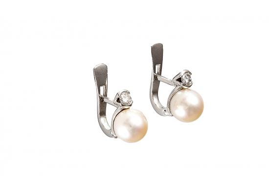 Pendientes perla y brillante