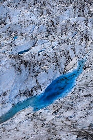 Vista aérea del glaciar Colony, Alaska, Junio 2010.