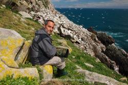 Fotografiando alcatraces (Morus bassanus). Irlanda